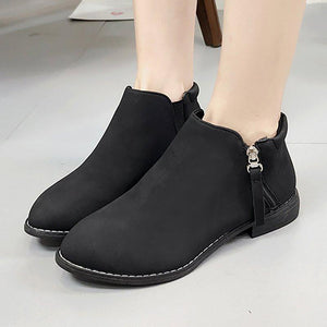 Women Zipper Booties Casual Comfort Ankle Shoes