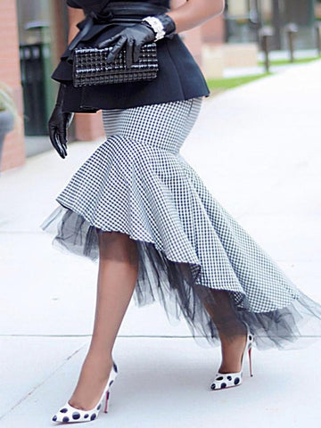 Houndstooth Patchwork Asymmetrical Fashion Skirt