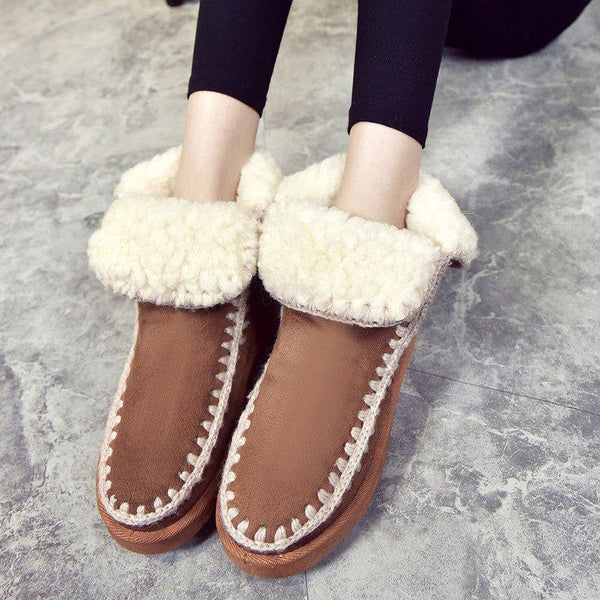 Women Snow Booties Casual Slip On Plus Size Warm Shoes