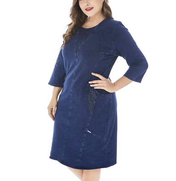 Plus-size casual hot drilling jeans dress