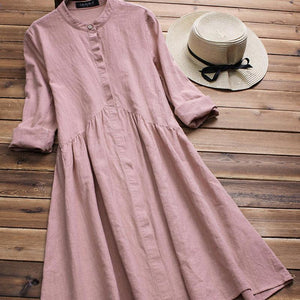 Retro Art Girl Cotton Collar Pleats Long-Sleeved Dress