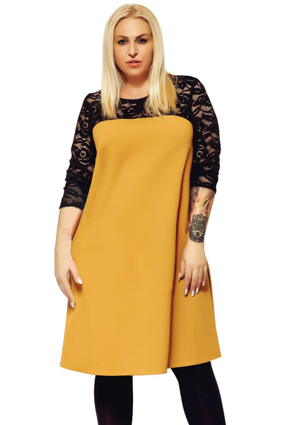 Yellow O Neck Lace Splice Plus Size Dress