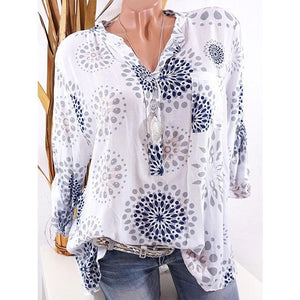 Plus-size V-neck long-sleeve loose printing shirt
