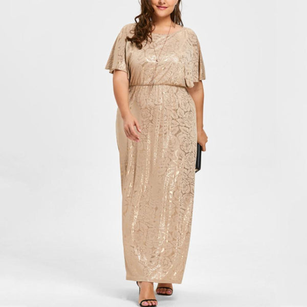 Plus-size sexy printed round neck bat sleeve dress