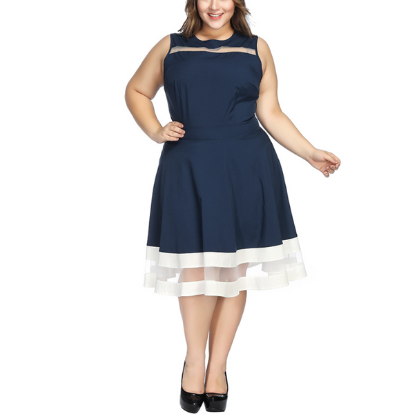 Plus-size sexy contrast color round collar sleeveless dress
