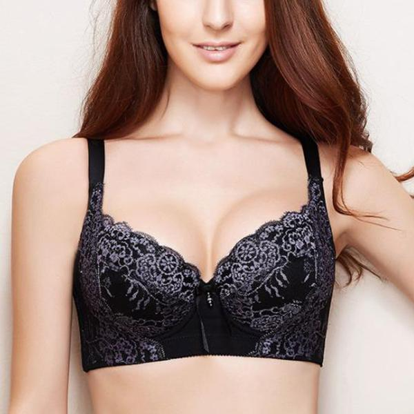 Plus Size Thin Sexy Lace Gathered Adjustable Bra