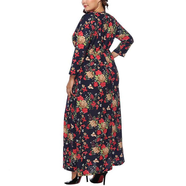 Plus-size belted printed long dress