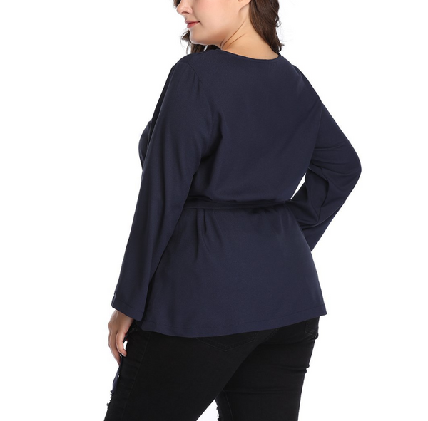 Plus-size solid color round collar long sleeves T-shirt