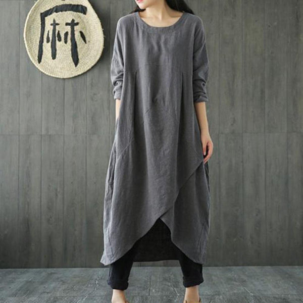 Long Sleeves Cotton Linen Loose Spring Summer Dress