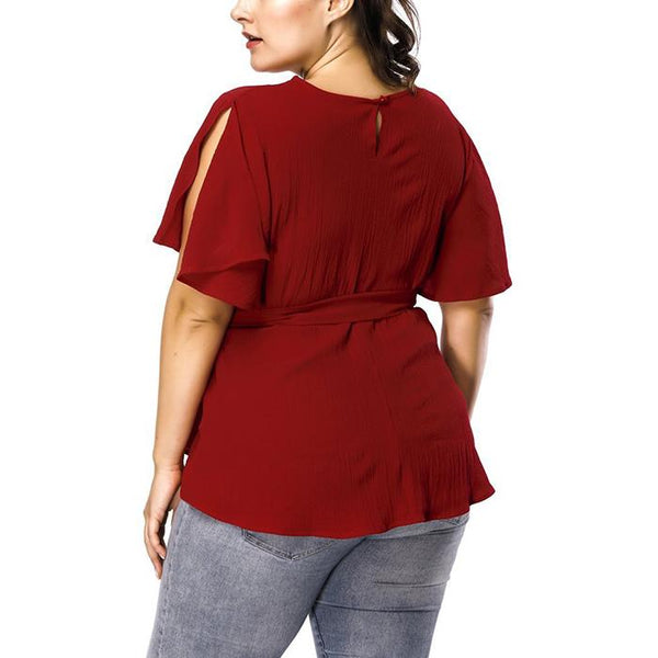 Plus-Size Pure Color Round Collar Ruffled Sleeve T-Shirt