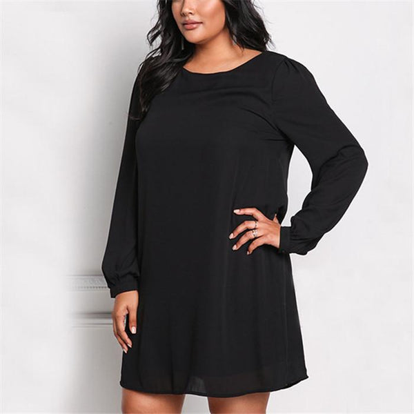 Fashion solid color loose chiffon long sleeves dress