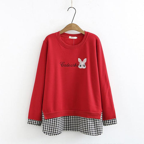 Plus Velvet Warm Plaid Embroidery Round Neck Stitching Pullover Hoodie
