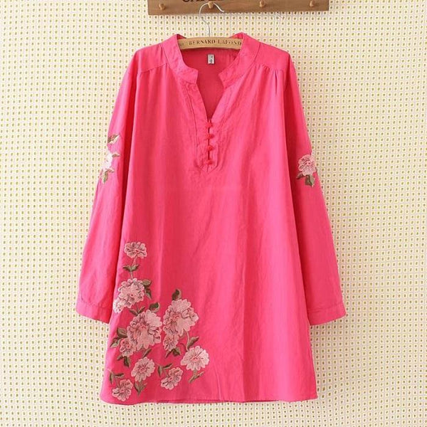 Ethnic Style Embroidered Long-Sleeved Cotton And Linen Dress