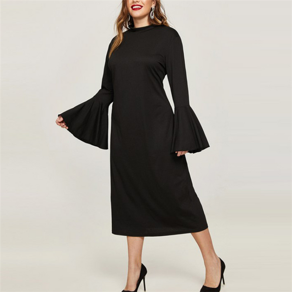 Plus-size fashionable sexy solid color flared sleeve dress