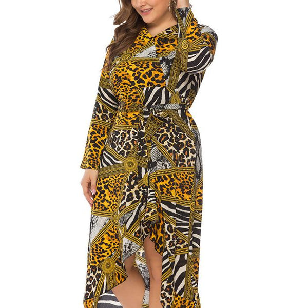 Plus-Size Sexy Leopard Print Long Sleeves Dress