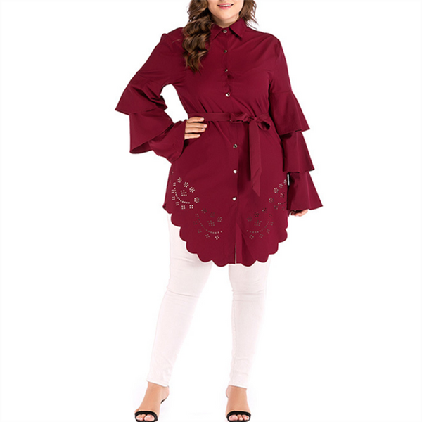 Plus-size solid color round collar hollow out asymmetric sleeve blouse