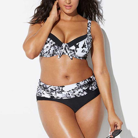 Split Print Sexy Plus Size Swimsuit