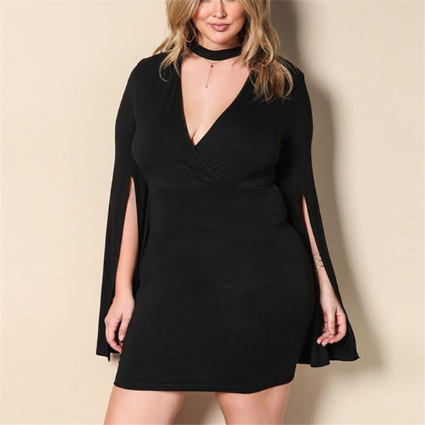 Plus-size solid color knit sexy v-neck mini dress