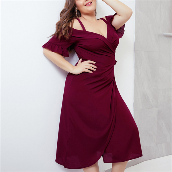 Plus-Size Sexy Solid Color Dark V Sling Short Sleeve Dress