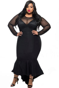 Black Sheer Mesh Splice Curvy Mermaid Dress