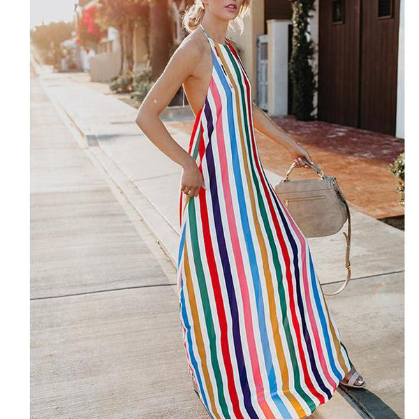 Hanging Neck Backless Colorful Dress