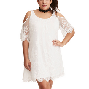 Plus-Size Lace Round Collars Splicing Off-Shoulder Dress