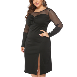 Plus-size pure color sexy mesh perspective long sleeve dress