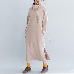 Woolen Loose Drawstring Waist Slimming Split Fashion Bottom Dress