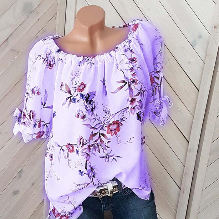 Plus-size one word collar loose long sleeve print shirt