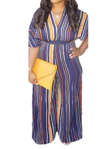 Full Length Office Lady Stripe Loose Jumpsuit