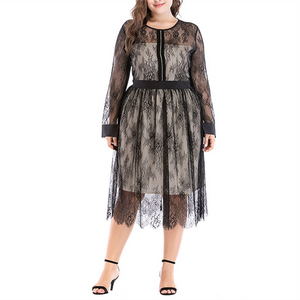 Plus-size fashionable lace mesh splicing dress