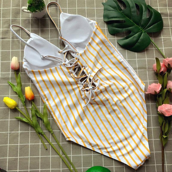 Sexy halter straps yellow striped triangle bikini one-piece swimsuit
