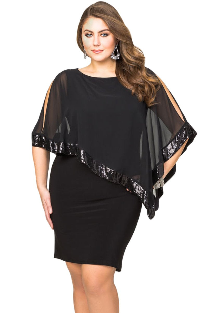 Black Sequined Mesh Overlay Plus Size Poncho Dress