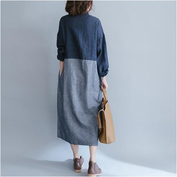 Striped Long-Sleeved Cotton And Linen Loose Casual Dress