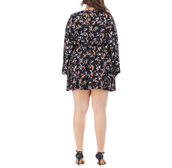 Plus-Size Loose Round-Neck Long-Sleeve Printing Dress