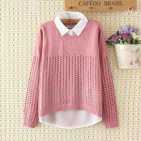 Fake Two-Piece Shirt Collar Openwork Pullover Sweater