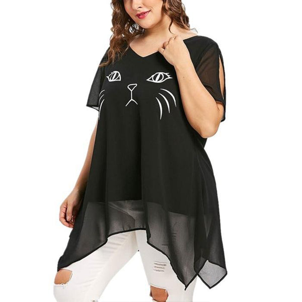 Plus-size printed v-neck backless short sleeves loose irregular shirt