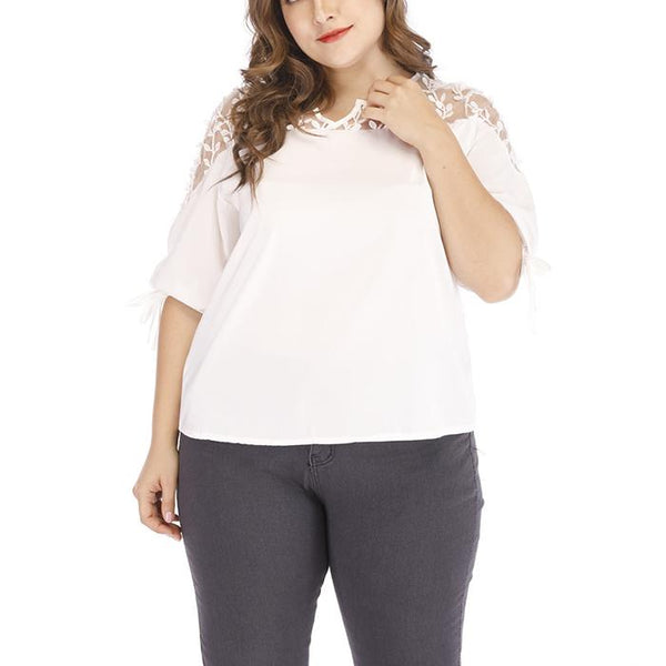 Plus-size sexy solid color v-neck see-through lace T-shirt