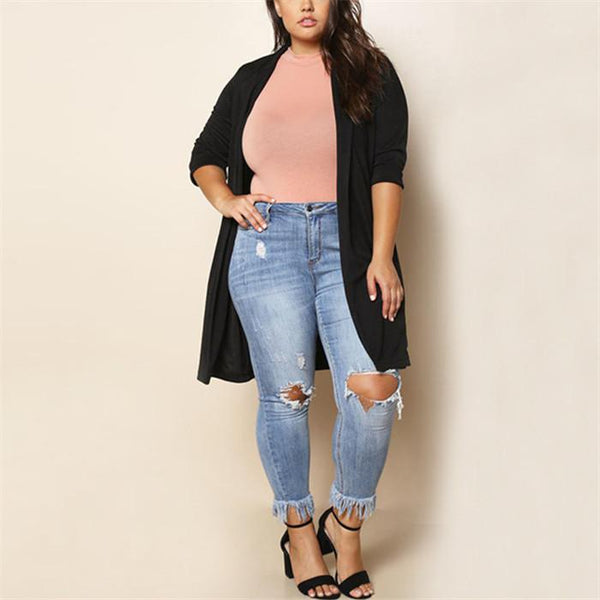 Plus-Size Fashion Pure Color Long Sleeve Cardigan