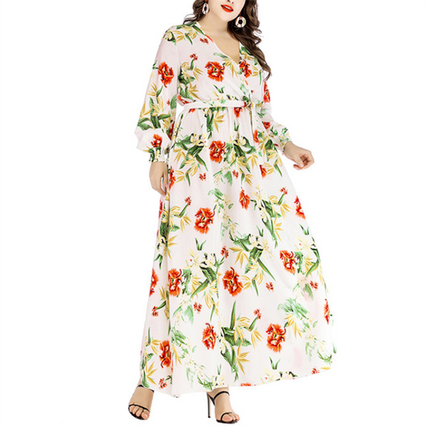Plus-Size Stylish V-Neck Printed Lantern Sleeves Dress
