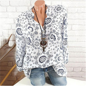 Fashion printed long-sleeved V-neck shirt