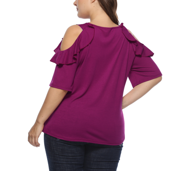 Pure Color Large Size Loose Strapless T-Shirt