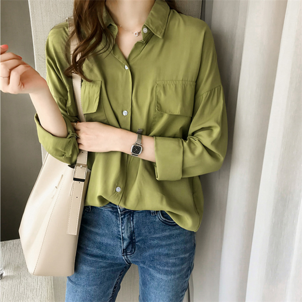 Casual pure color long sleeve loose shirt