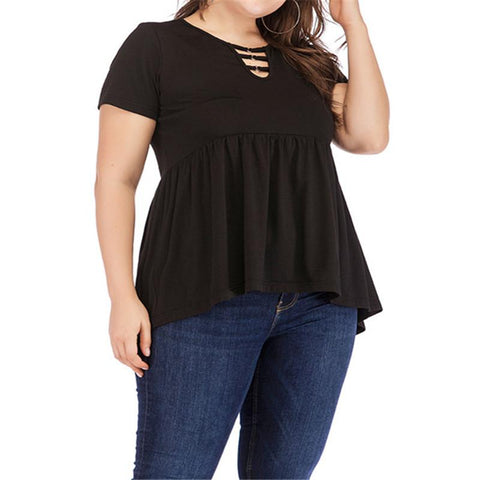 Big-Size Women's Summer Suits Exploded Black Short-Sleeved T-Shirts