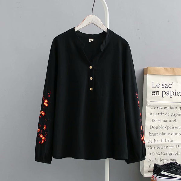 Plus-Size Fashion Embroidered Pullover Shirt