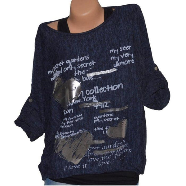 Casual Round Neck Women's Printed Letter T-Shirt