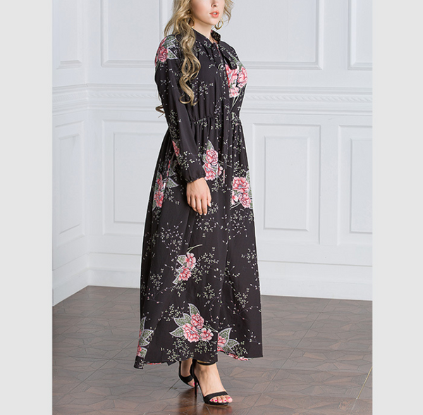 Plus-size chiffon long-sleeved printed dress