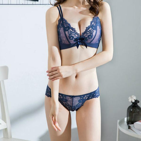Sexy lace embroidery no rims gathering adjustable bra set