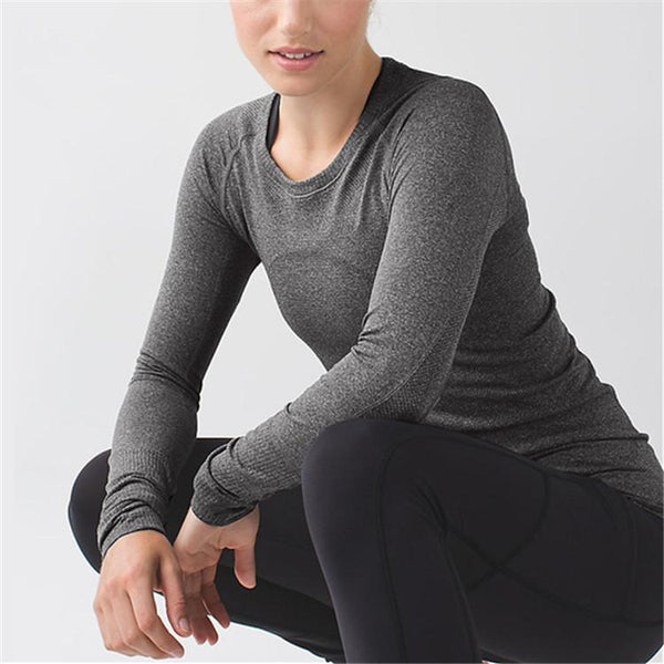 Tight Exercise Yoga Pure Color Sexy Long Sleeve T-Shirt