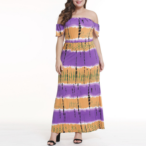 Plus-size gradient printing one word shoulder dress